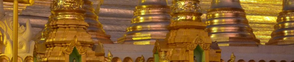 As the sun drops, the lights come on, giving a brilliant glow to the gold of Shwedagon.