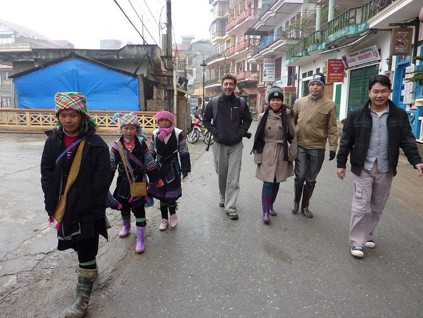 trekking group departing Sapa