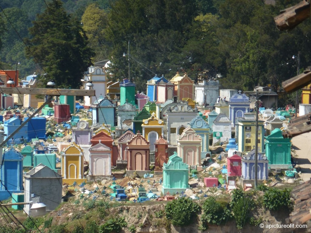 The intriguing and colorful cemetery in Chichicastenango, Guatemala.