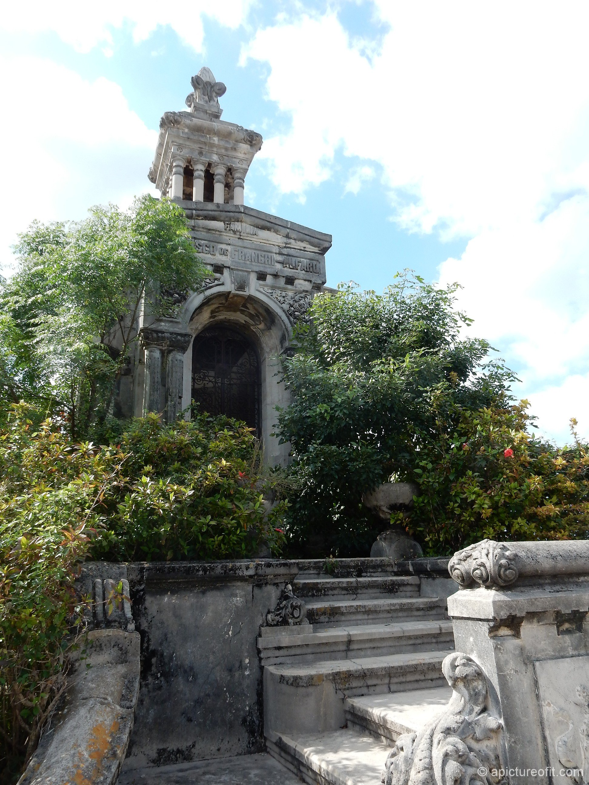 This magnificent old mausoleum was overgrown by trees.  The family that loved and honored this memorial are no longer around to maintain what was so lovingly built