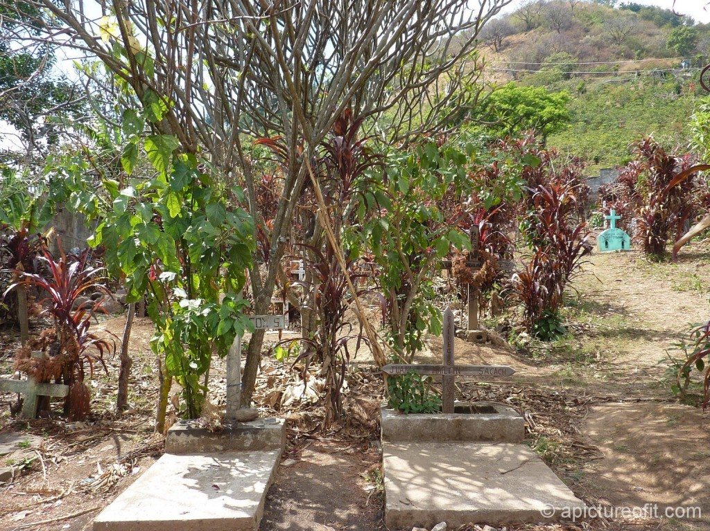 Tz'utujil Maya Cemetery above Lake Atitlan