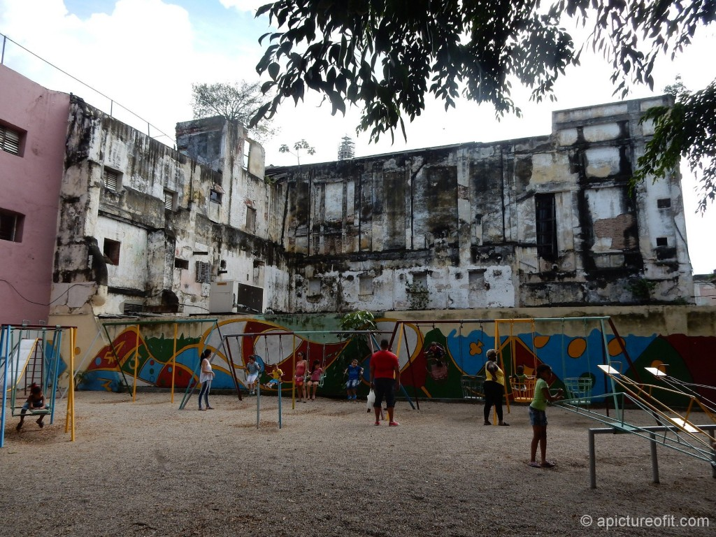 The transition area between Vieja and Centro - children's playground where once a colonial building stood.