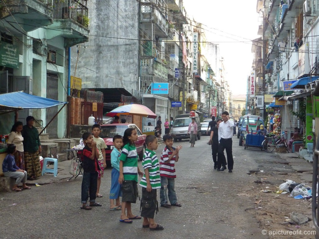 The city block in lived on in Yangon, January 2011