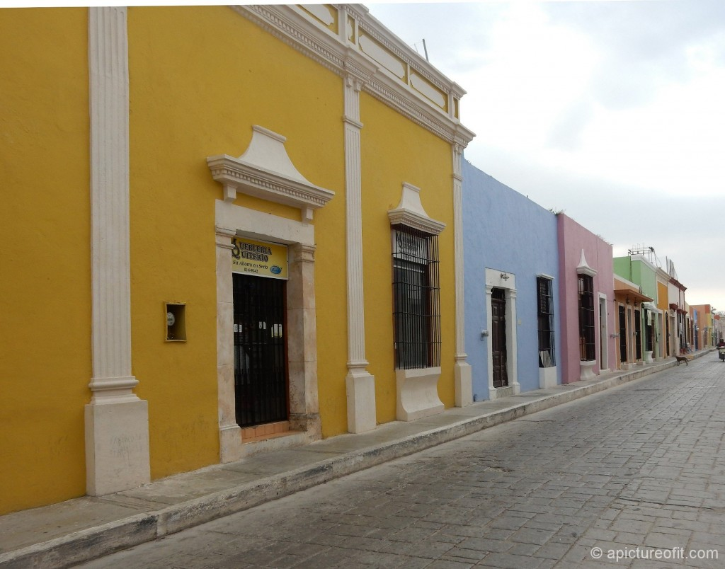 Pastel painted buildings in Campeche, Mexico